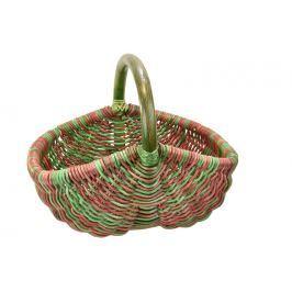 Ratanový nákupní košík v zeleno červených odstínech