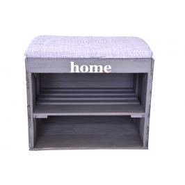 Dřevěný botník s lavicí šedý