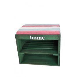 Dřevěný botník s lavicí zelený Nábytek