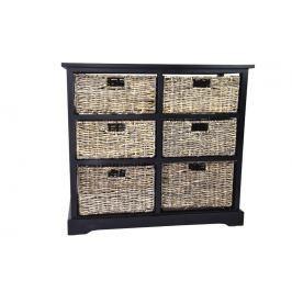 Černá dřevěná komoda se 6 košíčky Nábytek
