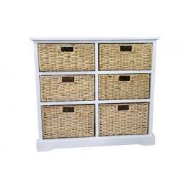 Bílá dřevěná komoda se 6 košíčky Nábytek