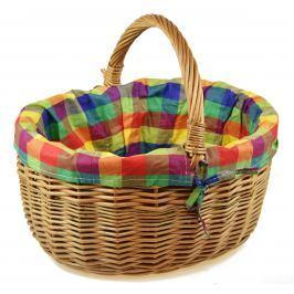 Proutěný košík s látkou Rozměry (cm): sada   30x24x29|40x34x35|33x28x30