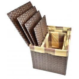 Úložný box s víkem hnědy rozměry boxu (cm): Sada  43x32x30 40x29x28 36x25x26 32x21x24