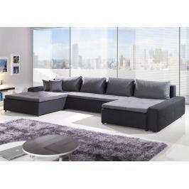 London Max, tvar U, šedá ekokůže/černo-šedá tkanina