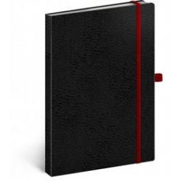 Notes - Vivella Classic černý/červený, linkovaný, 15 x 21 cm