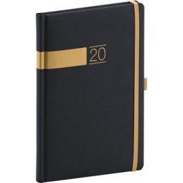 Týdenní diář Twill 2020, černozlatý 15 × 21 cm