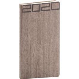 Kapesní diář Forest 2020, hnědý, 9 × 15,5 cm