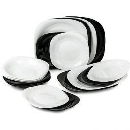 LUMINARC Jídelní souprava 18ks CARINE bílá/černá