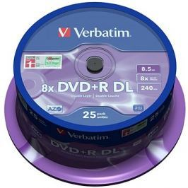 VERBATIM DVD+R 8,5GB 8x DoubleLayer MATT SILVER spindl 25pck/BAL