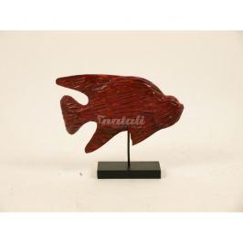 Autronic Dekorace Dřevořezba - Ryba na stojanu, červená