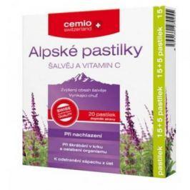 CEMIO Alpské pastilky šalvěj a Vitamín C 15 + 5 pastilek ZADARMO Vitamíny a minerály