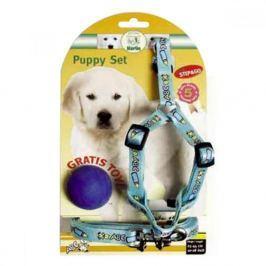 Postroj štěně nylon+vodítko 25-45cm/130cm modré KAR Postroje pro psy
