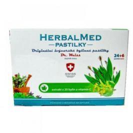 HERBALMED Dr.Weiss pastilky Jitrocel, máta, lípa, vitamin C 24+6 pastilek