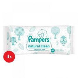 Pampers Vlhčené ubrousky Natural Clean 4 x 64 kusů