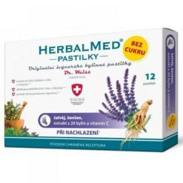 HerbalMed pastilky Dr.Weiss BEZ CUKRU Šalvěj + ženšen + vitamín C