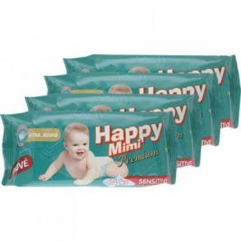 HAPPY MIMI Premium dětské vlhčené ubrousky 4 x 64 kusů