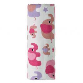 T-TOMI Bambusová osuška růžoví sloni 1 kus