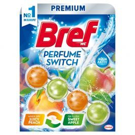 BREF Perfume Switch Juicy Peach/Sweet Apple pevný WC blok 50 g WC bloky a osvěžovače