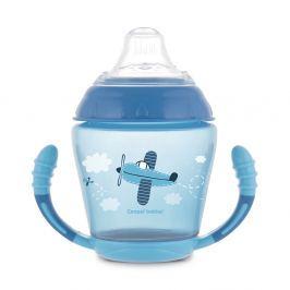 CANPOL BABIES Nevylévací hrníček se silikonovým pítkem TOYS modrý 230 ml