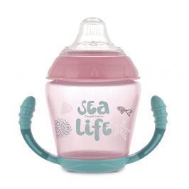 CANPOL BABIES Nevylévací hrníček se silikonovým pítkem SEA LIFE růžový 230 ml