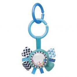 CANPOL BABIES Šustící plyšová hračka s chrastítkem ZIG ZAG stuha modrá