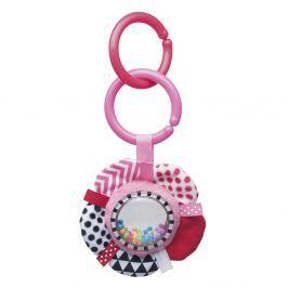 CANPOL BABIES Šustící plyšová hračka s chrastítkem ZIG ZAG stuha růžová