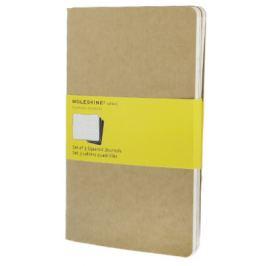 Moleskine - Notesy 3 ks - bežové,čtverečkované L