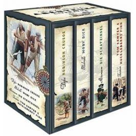 Die großen Klassiker der Abenteuerliteratur (im Schuber) - Robinson Crusoe - Moby Dick - Die Schatzinsel - Tom Sawyer & Huckleberry Finn - Daniel Defo