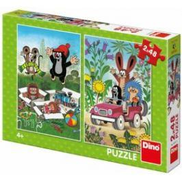 Krtek se raduje - puzzle 2x48 dílků