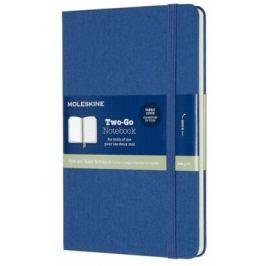 Moleskine - zápisník Two-go - modrý, čistý/linkovaný M