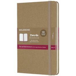 Moleskine - zápisník Two-go - hnědý, čistý/linkovaný M