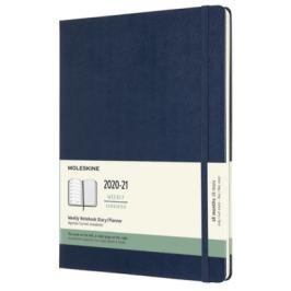 Moleskine: Plánovací zápisník 2020-2021 tvrdý modrý XL