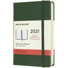 Diář Moleskine 2021 denní tvrdý zelený S