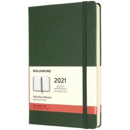 Diář Moleskine 2021 denní tvrdý zelený L Kalendáře