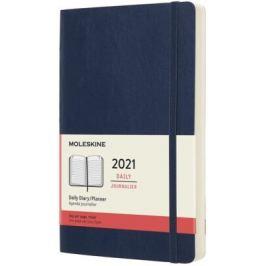Diář Moleskine 2021 denní měkký modrý L