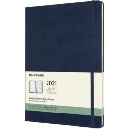 Plánovací zápisník Moleskine 2021 tvrdý modrý XL