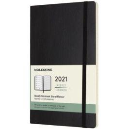 Plánovací zápisník Moleskine 2021 měkký černý L Velké L (13x21cm)
