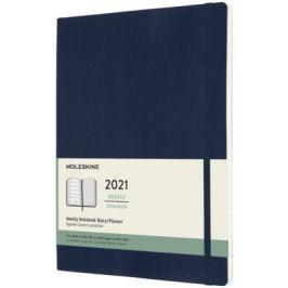 Plánovací zápisník Moleskine 2021 měkký modrý XL