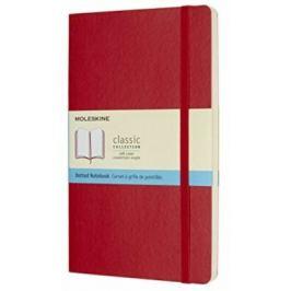 Moleskine - zápisník - měkký tečkovaný červený L