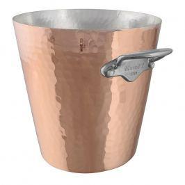 MAUVIEL Měděná tepaná chladicí nádoba na sekt s nerezovými uchy Ø 20 cm