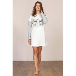 Dámská noční košile dlouhý rukáv Linclalor 92039 - barva:LCL33/bílá/šedá, velikost:42