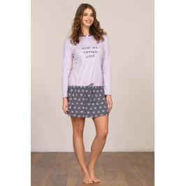 Dámská noční košile dlouhý rukáv Linclalor 92711 - barva:LCL152/fialová/šedá, velikost:42