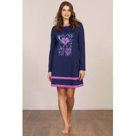 Dámská noční košile dlouhý rukáv Linclalor 91785 - barva:LCL96/modrá/fuchsiová, velikost:42