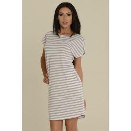 Proužkované šaty De Lafense 539 - barva:DELMEWH/šedá-bílá  , velikost:L