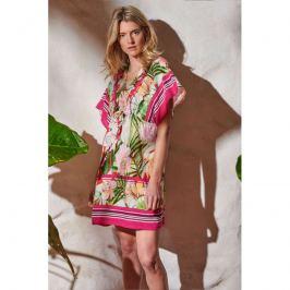 Šaty Lady Belty 20V-1001R-65 - barva:BEL65UNI/růžovo-zelený potisk, velikost:L