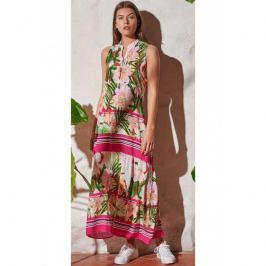 Šaty Lady Belty 20V-1009R-65 - barva:BEL65UNI/růžovo-zelený potisk, velikost:L
