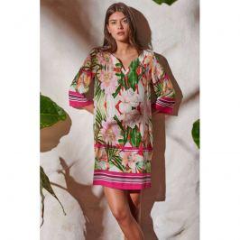 Šaty Lady Belty 20V-1002R-65 - barva:BEL65UNI/růžovo-zelený potisk, velikost:XXXL