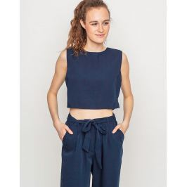 Native Youth BOAT HOUSE CROP TOP navy L