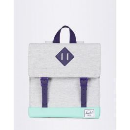 Herschel Supply Survey Kids Light Grey Crosshatch/Lucite Green/Parachute Purple Rubber