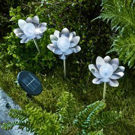 Solární zápich Lotosový květ, sada 3 ks